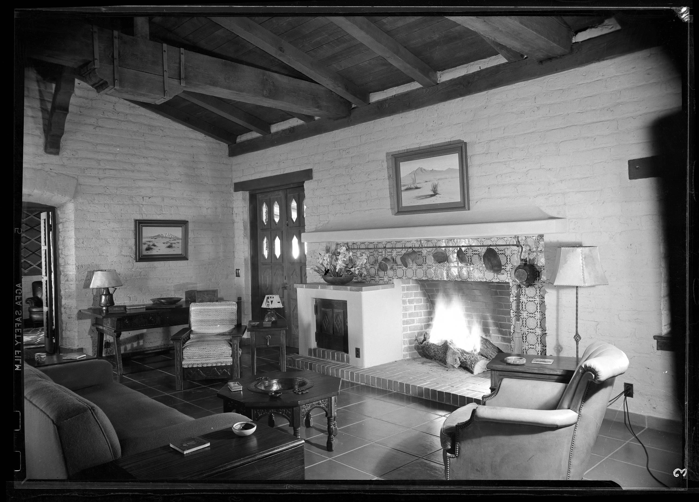 Living room of author Walt Coburrn's house in Tucson, Arizona